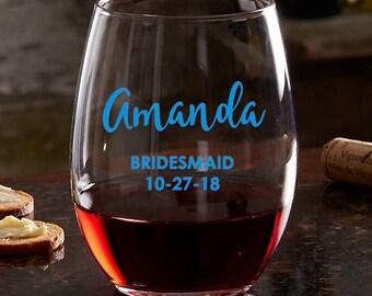 PERSONALIZED WEDDING GLASS - White wine 12 oz ~ Stemless Wine glass 21 oz ~ Red Wine 19.25 oz - Set of 2