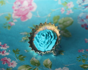 Blue rose, bottle top brooch, quirky, gift for her, birthday gift