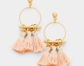 Three Tassel Earrings Fringe Earrings, Pink Tassel Earrings, Matte Gold Tassel Drop Earrings