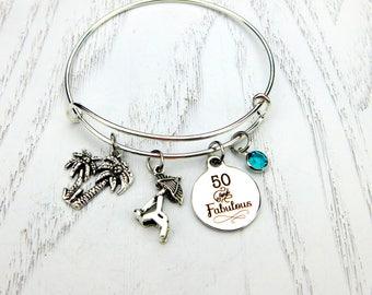 50th Birthday Gift, 50 and Fabulous Bracelet,  Milestone Birthday, Beach Travel Bracelet, Best Friend Keychain ,Fiftieth Birthday, Birthday