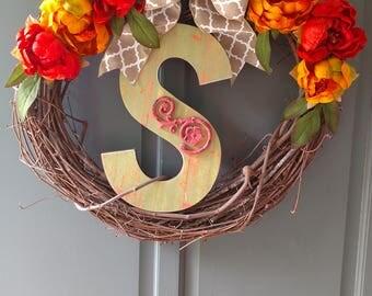 Custom letter S wreath.