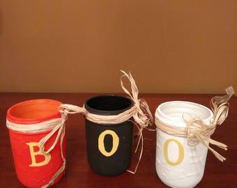 Set of 3 Hand Painted Mason Jars - Halloween B-O-O Design