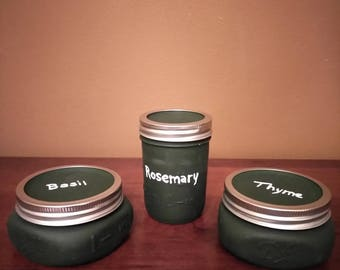 Set of 3 Painted Mason Jars - Black Dry Herb Storage Jars