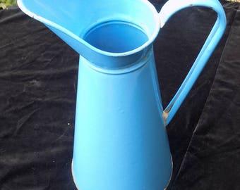 Vintage enamelware pitcher blue