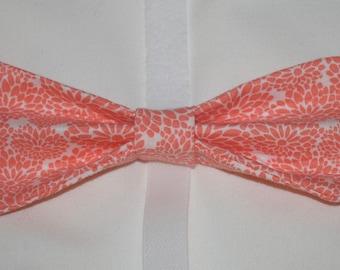 Coral Floral Lotus Dog Bow Tie