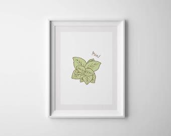 Herbs Wall Art, Mint, Kitchen Print, Herbs Print, Kitchen Printable, Botanical Printable, Kitchen Decor, Dining Room Art, Housewarming Gift