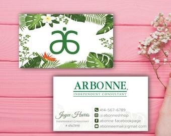 Arbonne Business Cards, Custom Arbonne Business Card, Green Floral Argonne Business Card, Custom Business Card, Printable Business Card AB09