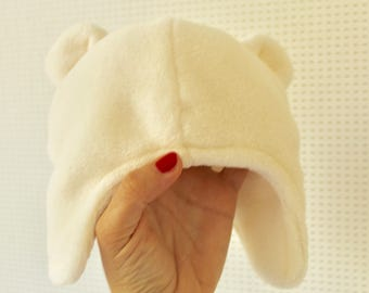 Baby hat with bear ears, soft fabric, babyshower, pregnant, present for her, 3-10 months, baby, beige, soft fabric, winter, warm, boy, girl