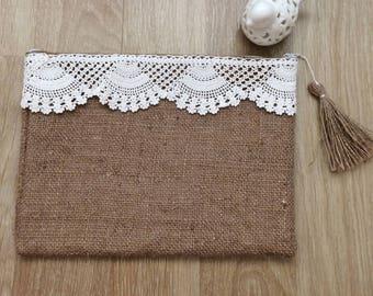 Jute Clutch Mechlin Lace on It / Jute Handbag with Mechlin Lace