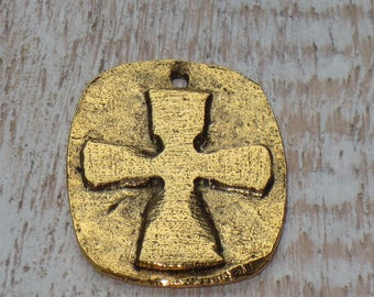 Hammered Gold Cross Charm Pewter Spritual