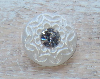 18mm Czech Glass Flower Button in White - Crystal Center