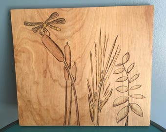 Wood Burned Wall Art Panel -- Dragon Fly