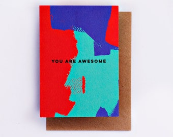 You Are Awesome Card, Illustration, Fashion Stationery, Fashion Card, Cool Card, Congratulations Card, Encouragement Card, Fashion Gift