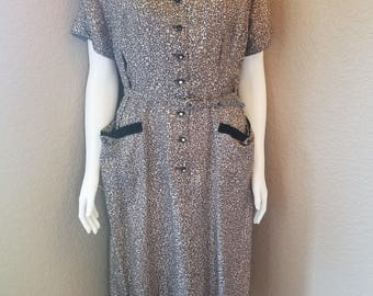1980's Brown and White Toni Todd Dress