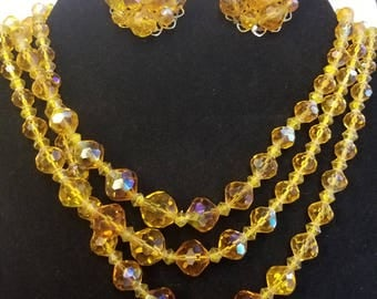 3 Strand Vintage Aurora Borealis AB Necklace and Matching Clip On Cluster Earrings