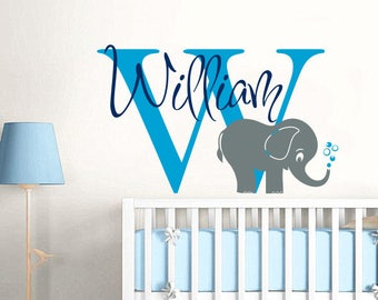 Name Wall Decal Elephant Monogram Wall Sticker Vinyl Nursery Personalized Boys Name Decal Wall Decor Nursery Baby Boy Name Wall Decal F65