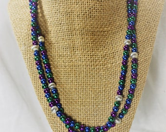 Multi-colored Glass Pearl Necklace
