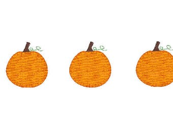 mini pumpkin blanket stitch applique trio vintage style design file