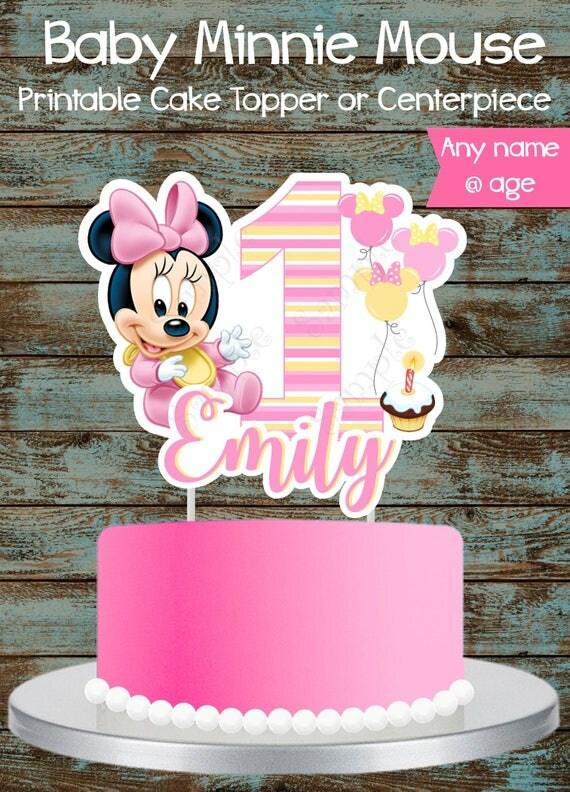 Baby Minnie Mouse 1st Birthday Cake Topper Printable Custom