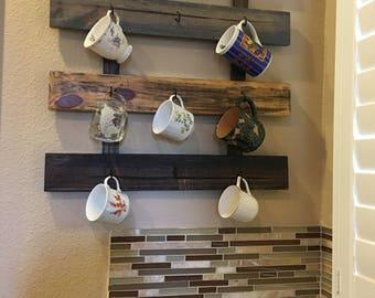 Rustic, farmhouse style 9 cup coffee mug rack, tea cup rack, coffee mug holder, wall mounted coffee mug rack, barn wood style rack