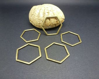 5 connectors geometric rings closed 22 * 20mm bronze Hexagon shape (8SCB19)