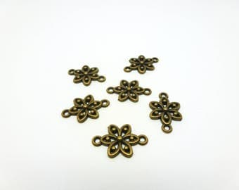 6 small flower 18 * 11mm bronze (USCB03) connectors