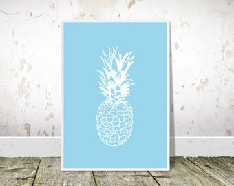 Pineapple Print, Pineapple Wall Art, Pop Art, Printable Art, Pineapple Poster, Blue Print, Pineapple Decor, Tropical Decor,Kitchen Wall Art