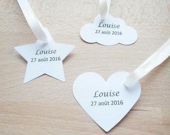 Mariage & Baptême - Lot 20 Etiquettes / marques places - coeur, nuage ou étoile - Texte noir - étiquette papier personnalisable