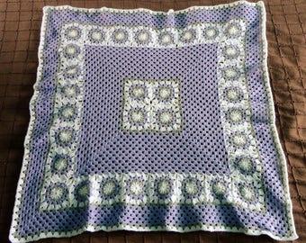 blanket / plaid beige and purple baby bed, pram, bassinet