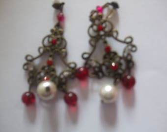 brass and Pearl Earrings white and Ruby glass attached aluminum studs