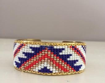 Red white blue beaded bracelet