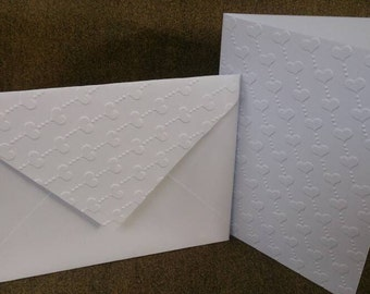 Hearts embossed cards (set of 10 cards)