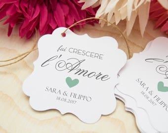 tags wedding, personalized labels, grow love, cards favors, 24 labels for plants