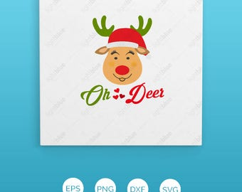 SVG, DXF, EPS cutting file, Oh deer svg, Christmas svg, Santa svg, rudolph svg, elf svg, reindeer svg LB580