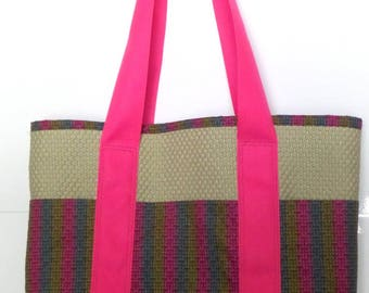 Tote Bag with Pockets Multicolor Green Blue and Pink for Shopping, Books, School, Market, Diapers, Knitting and Sewing Projects