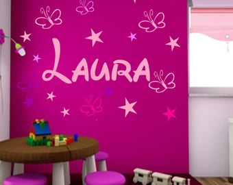 Wall decals name desire name nursery 19 stars and butterflies personalized - wall sticker