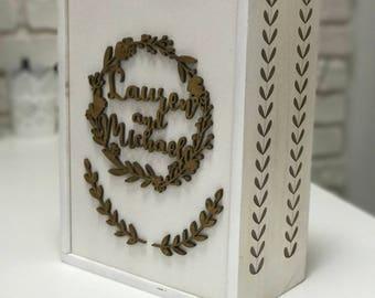 Wine box Wedding Time capsule Keepsake ideas Memory box Engraved wine box Wine ceremony box Anniversary Gift for couple