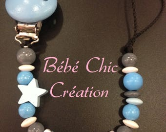 Blue and grey personalized pacifier