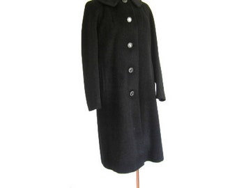 M-L 50s 60s Coat Black Wool Kerrybrook Label Winter Mohair Button Collar Classic Nap Mad Men Medium Large