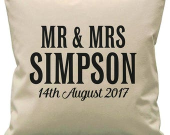 Personalised wedding cushion. Couples Mr and Mrs gift