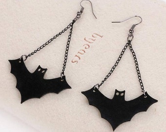 Black Bat Earrings- Halloween, Goth
