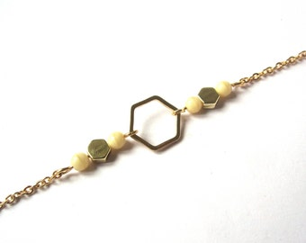 Gold Hexagon bracelet and beads