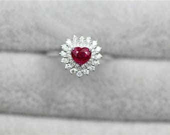 Heart Shaped Ruby Engagement Ring In 14k White Gold
