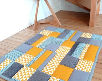 Carpet game or educational baby - Park background - patchwork quilted yellow-blue-gray - custom - sold