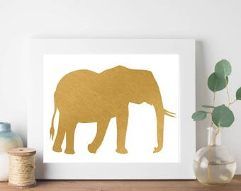Gold Foil Elephant Print, Gold Animal Print, Minimalist Print, Hipster Print, Teen Room Decor, Nursery Print, Nursery Decor, Feather Print