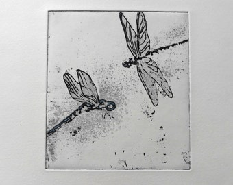 """engraving etching and aquatint, """"flight"""" dragonflies on Hahnmuhle paper"""
