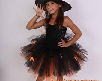 Tutu dress costume Halloween girl black and orange