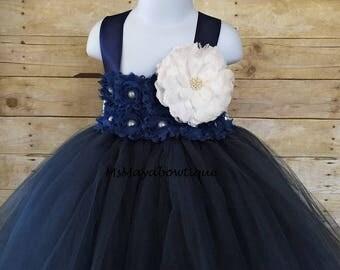 Flower girl dress navy, baby tutu dress, baby girl dresds, tulle flower girl dress, tutu dress for toddler, flower girl dress tulle, wedding