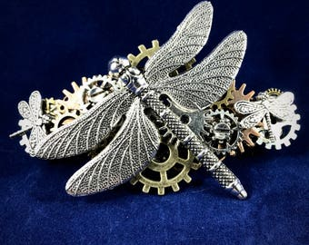 Steampunk Dragonfly, Gears, and more Dragonflies Barrette // Hair Jewelry