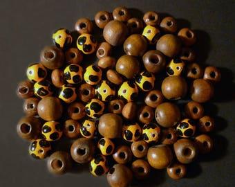 68 round orange, black, Brown leopard wooden beads